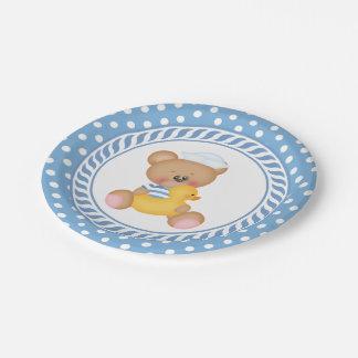 Fiesta de bienvenida al bebé náutica del oso de plato de papel de 7 pulgadas