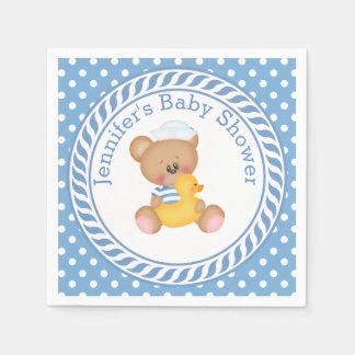 Fiesta de bienvenida al bebé náutica del oso de servilleta desechable