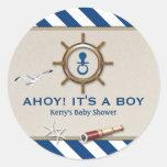 Fiesta de bienvenida al bebé náutica etiqueta redonda