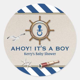 Fiesta de bienvenida al bebé náutica pegatina redonda