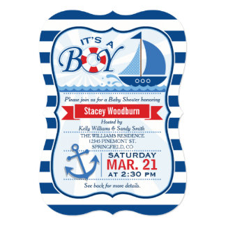 Fiesta de bienvenida al bebé náutica; Rayas azules Invitación 12,7 X 17,8 Cm