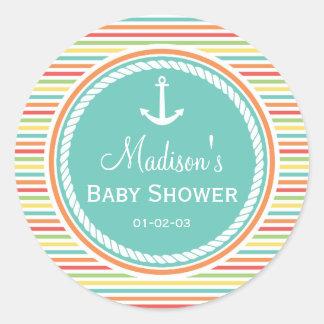 Fiesta de bienvenida al bebé náutica, rayas pegatina redonda
