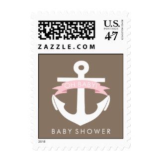 Fiesta de bienvenida al bebé náutica rosada linda sello postal