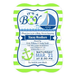 """Fiesta de bienvenida al bebé náutica; Verde lima y Invitación 5"""" X 7"""""""