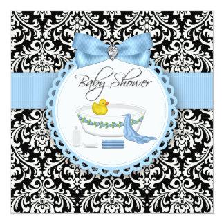 """Fiesta de bienvenida al bebé negra y azul del invitación 5.25"""" x 5.25"""""""