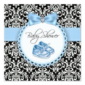 """Fiesta de bienvenida al bebé negra y azul elegante invitación 5.25"""" x 5.25"""""""