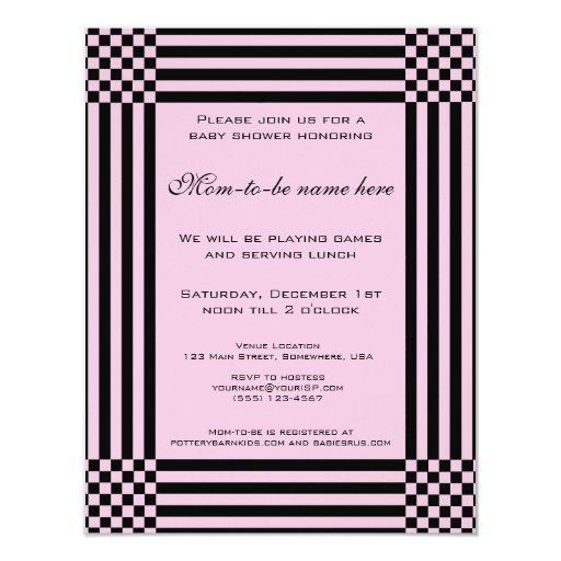 """Fiesta de bienvenida al bebé negra y rosada de las invitación 4.25"""" x 5.5"""""""