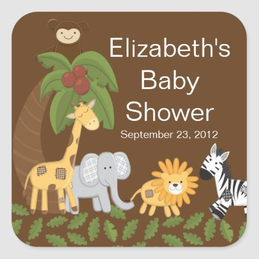 Fiesta de bienvenida al bebé neutral animal del calcomanía cuadradas personalizadas