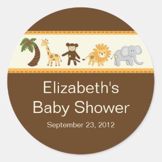 Fiesta de bienvenida al bebé neutral animal del sa etiquetas redondas