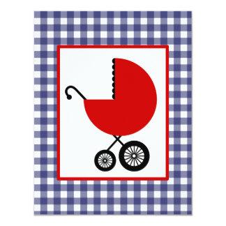 """Fiesta de bienvenida al bebé neutral - carro rojo invitación 4.25"""" x 5.5"""""""