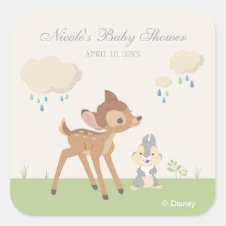 Fiesta de bienvenida al bebé neutral de Bambi el   Pegatina Cuadrada