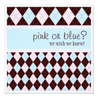 """Fiesta de bienvenida al bebé neutral rosada o azul invitación 5.25"""" x 5.25"""""""