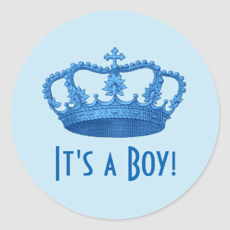 Fiesta de bienvenida al bebé o corona azul A04 del Pegatina Redonda