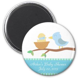Fiesta de bienvenida al bebé: Pájaro azul lindo co Imán Redondo 5 Cm