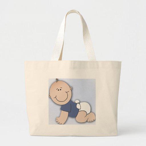 Fiesta de bienvenida al bebé para el muchacho bolsa de tela grande
