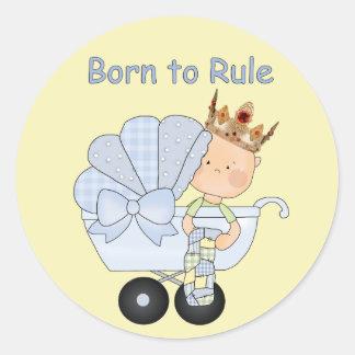 Fiesta de bienvenida al bebé para el pegatina redonda