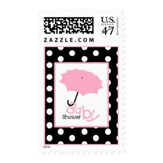 Fiesta de bienvenida al bebé - paraguas y lunar sellos postales