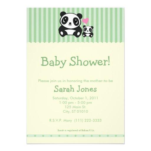 Fiesta de bienvenida al bebé personal de la panda  invitacion personalizada