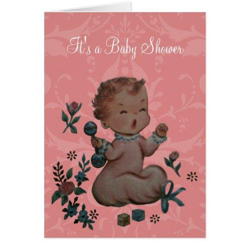 Fiesta de bienvenida al bebé personalizada del gri tarjeton