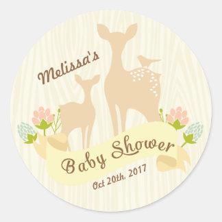 Fiesta de bienvenida al bebé personalizada pegatina redonda