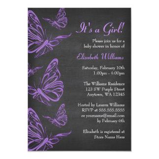 """Fiesta de bienvenida al bebé púrpura bonita de la invitación 4.5"""" x 6.25"""""""