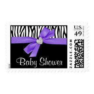 Fiesta de bienvenida al bebé púrpura de la cebra sello
