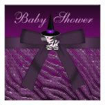 Fiesta de bienvenida al bebé púrpura de la cebra y invitacion personalizada