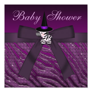 """Fiesta de bienvenida al bebé púrpura de la cebra y invitación 5.25"""" x 5.25"""""""