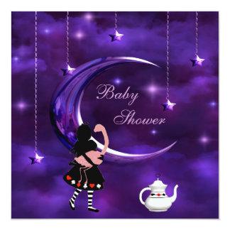 Fiesta de bienvenida al bebé púrpura de la luna de invitaciones personales
