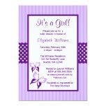Fiesta de bienvenida al bebé púrpura de las rayas invitación 12,7 x 17,8 cm