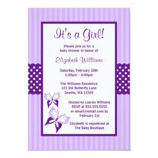Fiesta de bienvenida al bebé púrpura de las rayas invitación