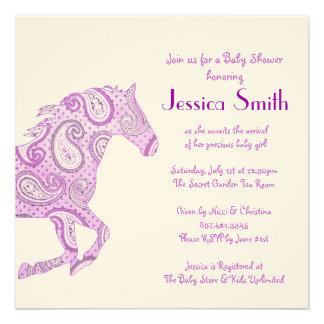 Fiesta de bienvenida al bebé púrpura del caballo d anuncio personalizado
