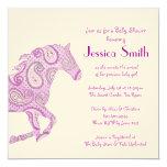 Fiesta de bienvenida al bebé púrpura del caballo invitación 13,3 cm x 13,3cm