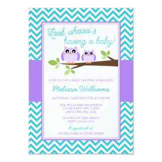 """Fiesta de bienvenida al bebé púrpura del chica de invitación 5"""" x 7"""""""