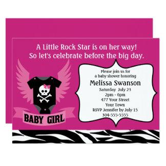"""Fiesta de bienvenida al bebé púrpura del cráneo de invitación 5"""" x 7"""""""