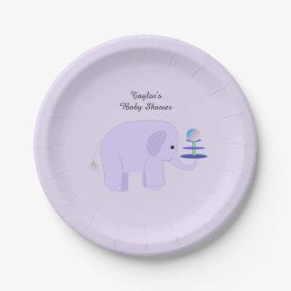 Fiesta de bienvenida al bebé púrpura del elefante plato de papel de 7 pulgadas