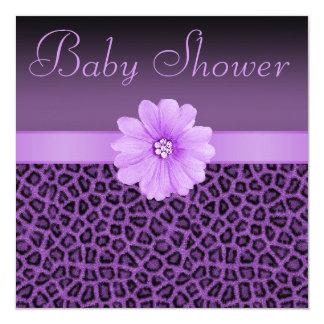 """Fiesta de bienvenida al bebé púrpura del estampado invitación 5.25"""" x 5.25"""""""