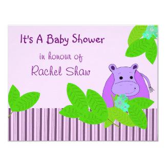 """Fiesta de bienvenida al bebé púrpura del invitación 4.25"""" x 5.5"""""""