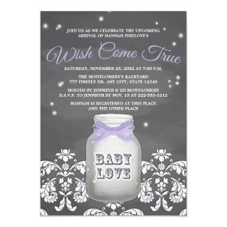 """Fiesta de bienvenida al bebé púrpura del tarro de invitación 5"""" x 7"""""""