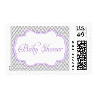 Fiesta de bienvenida al bebé púrpura gris del sello