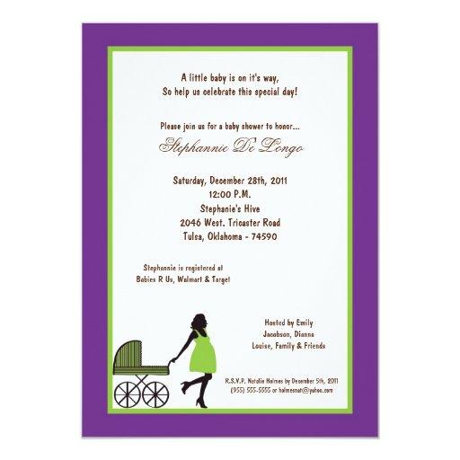 """fiesta de bienvenida al bebé púrpura oscura de 5x7 invitación 5"""" x 7"""""""