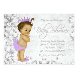 Fiesta de bienvenida al bebé púrpura y gris del comunicado