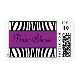 Fiesta de bienvenida al bebé púrpura y negra de la timbres postales