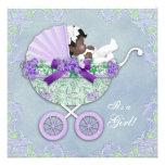 Fiesta de bienvenida al bebé púrpura y verde