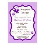 fiesta de bienvenida al bebé purpúrea clara de la  invitaciones personalizada