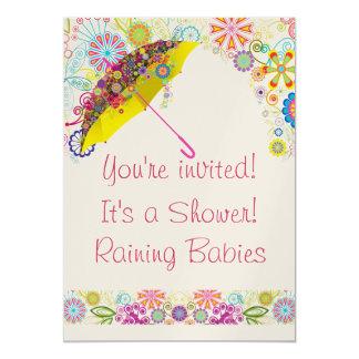 Fiesta de bienvenida al bebé que llueve la invitación 12,7 x 17,8 cm
