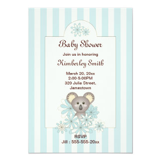 """Fiesta de bienvenida al bebé rayada azul en invitación 5"""" x 7"""""""