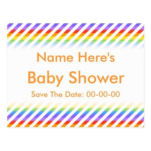 Fiesta de bienvenida al bebé. Rayas con colores de Tarjeta Postal