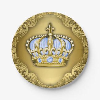 Fiesta de bienvenida al bebé real de la corona de plato de papel de 7 pulgadas