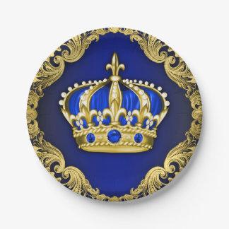 Fiesta de bienvenida al bebé real de la corona plato de papel de 7 pulgadas